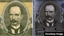 Las imágenes de Martí, a la izquierda en el sello emblemático del peso cubano, y a la derecha en el envase del Oliver's Presidente Martí-El Gran Ron del Caribe.