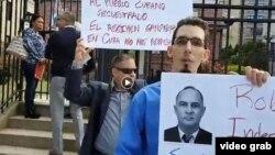 Protesta frente al consulado de Cuba en EEUU.
