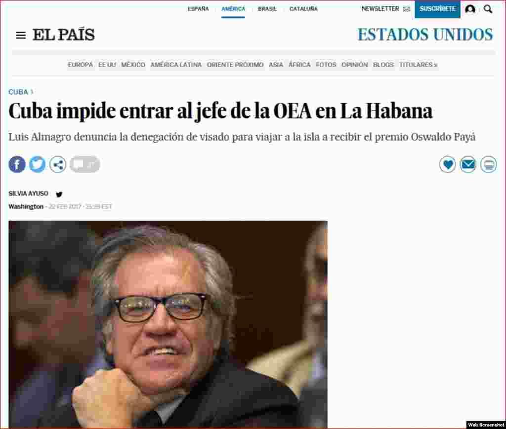 El País destaca negativa de entrada a Cuba al secretario general de la OEA, Luis Almagro.