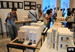 Maquetas de unos edificios en La Habana (Cuba), 15 de marzo de 2013, en La Casa de las Américas, durante la jornada inaugural de la 12 edición del Congreso Mundial de Art Déco.