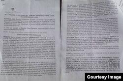 Documento de la Fiscalía en caso de Roberto Pérez Fonseca.