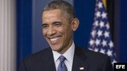 El presidente estadounidense Barack Obama, en rueda de prensa en la Casa Blanca (19 de diciembre, 2014).