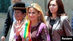 La presidenta interina de Bolivia Jeanine Añez en una ceremonia en La Paz,