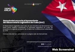 Presentación del Observatorio Legislativo de Cuba (OLC), la iniciativa del proyecto regional Demo Amlat.
