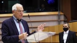 El Alto Representante de la Unión Europea, Josep Borrell, durante la sesión de este miércoles en el Parlamento Europeo. (YVES HERMAN / POOL / AFP)