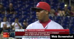 El zurdo cubano Aroldis Chapman, 104 ponches en 53 entradas.
