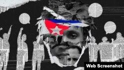 Cartel con imágenes de miembros del Movimiento San Isidro.