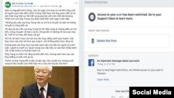 Publicaciones de Radio Asia Libre (RFA) censurados en Facebook