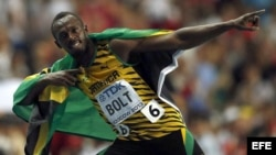 El atleta jamaicano Usain Bolt tras imponerse en la final de los 100m masculinos de los Mundiales de Atletismo Moscú 2013.