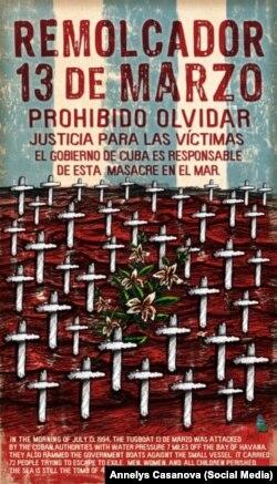 Gráfica de la artista cubana Annelys Casanova, dedicada a las víctimas del Remolcador q13 de Marzo. Cortesía de la entrevistada.