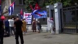 Protesta de cubanos y ucranianos ante la embajada de La Habana en Kiev