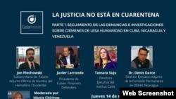 Panel virtual Instituto Casla de Praga sobre derechos humanos en Cuba, Nicaragua y Venezuela