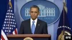 Foto de archivo del presidente de Estados Unidos, Barack Obama, durante una rueda de prensa celebrada en Washington, el 30 de abril de 2013.