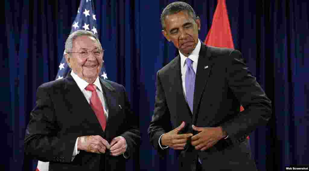 Barack Obama y Rául Castro mantienen una reunión en la sede de la ONU.