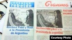 Portadas de los dos periódicos oficiales más importantes en Cuba. Foto: Yusnaby.