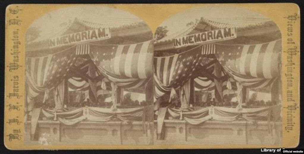 Dibujo de la celebración del primer Día de la Decoración en el Cementerio de Arlington en 1868. Biblioteca del Congreso de EE.UU. (Biblioteca del Congreso)