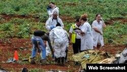 Levantamiento de los cuerpos en el lugar del accidente aéreo de La Habana.