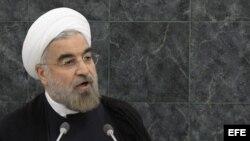 El presidente de Irán, Hassan Rouhani, interviene hoy, martes 24 de septiembre de 2013, durante la 68 Asamblea General de Naciones Unidas en la sede de esta organización en Nueva York, Estados Unidos