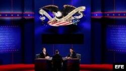 Un ensayo del debate que se llevará a cabo en Boca Ratón, Florida (EE.UU.) este lunes y que estará centrado en política exterior.