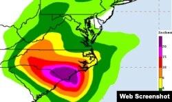 Carolina del Norte recibirá entre 150 y 500 mm de lluvia ( 6 a 20 pulgadas) durante el paso del huracán Florence (NHC)