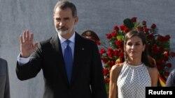 El Rey Felipe VI y la Reina Letizia en una ceremonia en la plaza cívica José Martí, en La Habana.
