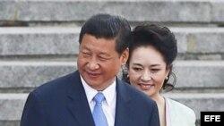 El presidente chino, Xi Jinping y su esposa Peng Liyuan en el Gran Palacio del Pueblo en Pekín (China).