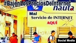 Cartel promocional para la etiqueta #BajenLosPreciosDeInternet en Cuba. (TWITTER).
