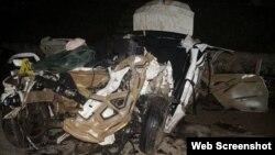 Así quedó el auto Tour tras la colisión con el ómnibus Yutong.
