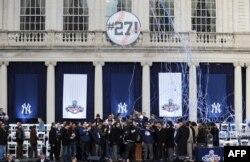 Los New York Yankees celebraron en el 2009, en el Ayuntamiento de New York la victoria número 27 en una serie mundial.