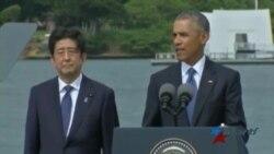 Primer Ministro japonés visita Pear Harbour junto a Barack Obama