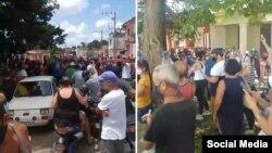 Multitudinaria protesta en San Antonio de los Baños, Cuba.