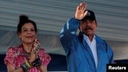 El presidente de Nicaragua, Daniel Ortega, y la vicepresidenta, Rosario Murillo, durante un acto público en agosto del 2018.