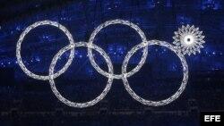 Imagen de los anillos olímpicos durante la ceremonia de inauguración de los XXII Juegos Olímpicos de Invierno en Sochi. (Archivo)
