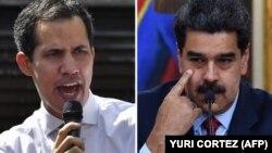 El presidente interino de Venezuela, Juan guaidó, y el presidente en disputa, Nicolás Maduro, en un combo de imágenes.