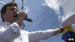 Daniel Ceballos en una manifestación de apoyo a Leopoldo López