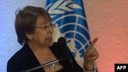 Esta foto fue tomada hace poco más de una semana, mientras Michelle Bachelet ofrecía una conferencia de prensa en Caracas durante su visita para inspeccionar la crisis en Venezuela (Foto: AFP).
