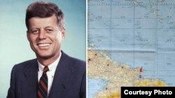 John F. Kennedy y el mapa utilizado para examinar las ubicaciones de los nueve enclaves soviéticos de misiles en Cuba.
