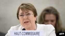 Michelle Bachelet durante su primer discurso en la ONU.