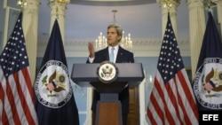 John Kerry, durante las declaraciones sobre Siria que ha realizado en el Departamento de Estado en Washington DC, Estados Unidos