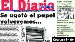 El Diario de Sucre, del estado venezolano del mismo nombre, cerró por no poder adquirir papel.