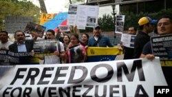 Venezolanos frente a la sede de la Organización de Naciones Unidas