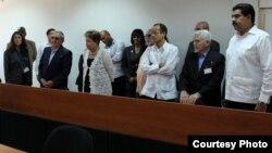 De izq. a der. Raúl Castro, Dilma Rousseff, Marcelo Odebrecht, Ramiro Valdés y Nicolás Maduro.