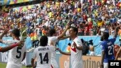 Costa Rica celebra su victoria sobre Italia.