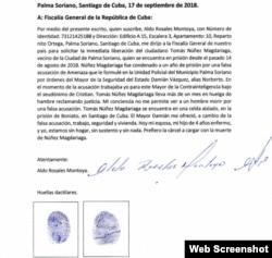 Carta de Aldo Rosales Montoya donde admite falsa acusación contra Magdariaga.