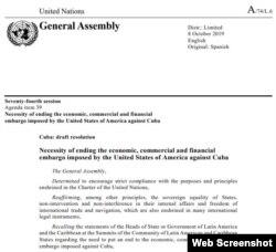Primera página del Proyecto de Resolución A-74-L6.