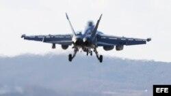 """Un Boeing EA-18G Growler despega de la base de Gunsan durante las maniobras llamadas """"Vigilant ACE"""", en Corea del Sur."""