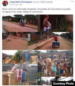 Problemas con suministro de agua en Güira de Melena. (Tomado del Facebook de Jorge Bello)