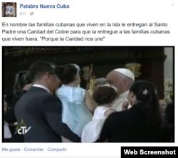 Familia cubana entrega al Papa imagen de La Caridad para compartirla con cubanos en el exterior