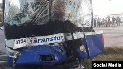 Ómnibus de Transtur accidentado en la provincia Granma.