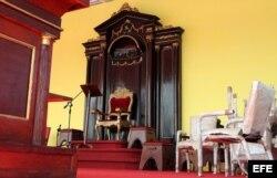 Altar montado en la Plaza de la Revolución de La Habana donde el próximo 20 de septiembre oficiará misa el papa Francisco.